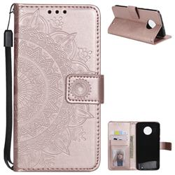 Intricate Embossing Datura Leather Wallet Case for Motorola Moto G6 Plus G6Plus - Rose Gold