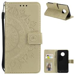 Intricate Embossing Datura Leather Wallet Case for Motorola Moto G6 Plus G6Plus - Golden