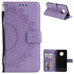 Intricate Embossing Datura Leather Wallet Case for Motorola Moto G6 Plus G6Plus - Purple