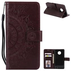 Intricate Embossing Datura Leather Wallet Case for Motorola Moto G6 Plus G6Plus - Brown