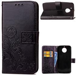 Embossing Imprint Four-Leaf Clover Leather Wallet Case for Motorola Moto G6 Plus G6Plus - Black
