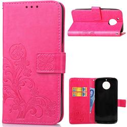 Embossing Imprint Four-Leaf Clover Leather Wallet Case for Motorola Moto G6 Plus G6Plus - Rose