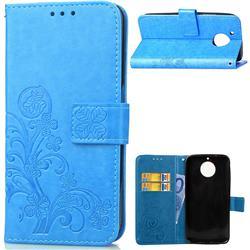Embossing Imprint Four-Leaf Clover Leather Wallet Case for Motorola Moto G6 Plus G6Plus - Blue