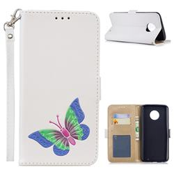 Imprint Embossing Butterfly Leather Wallet Case for Motorola Moto G6 Plus G6Plus - White