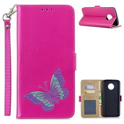 Imprint Embossing Butterfly Leather Wallet Case for Motorola Moto G6 Plus G6Plus - Rose Red