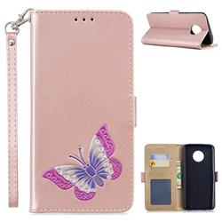 Imprint Embossing Butterfly Leather Wallet Case for Motorola Moto G6 Plus G6Plus - Rose Gold