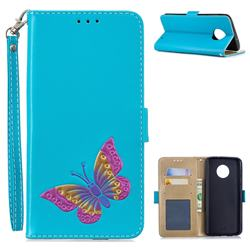 Imprint Embossing Butterfly Leather Wallet Case for Motorola Moto G6 Plus G6Plus - Sky Blue