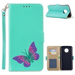 Imprint Embossing Butterfly Leather Wallet Case for Motorola Moto G6 Plus G6Plus - Mint Green