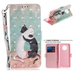 Black and White Cat 3D Painted Leather Wallet Phone Case for Motorola Moto G6 Plus G6Plus