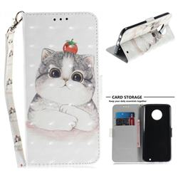 Cute Tomato Cat 3D Painted Leather Wallet Phone Case for Motorola Moto G6 Plus G6Plus