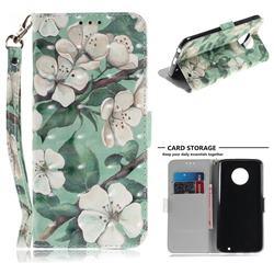 Watercolor Flower 3D Painted Leather Wallet Phone Case for Motorola Moto G6 Plus G6Plus