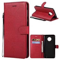 Retro Greek Classic Smooth PU Leather Wallet Phone Case for Motorola Moto G6 Plus G6Plus - Red