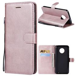Retro Greek Classic Smooth PU Leather Wallet Phone Case for Motorola Moto G6 Plus G6Plus - Rose Gold