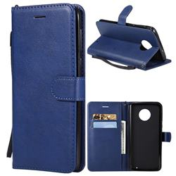 Retro Greek Classic Smooth PU Leather Wallet Phone Case for Motorola Moto G6 Plus G6Plus - Blue