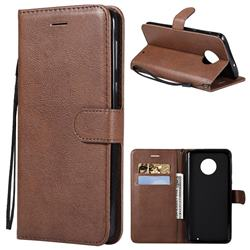 Retro Greek Classic Smooth PU Leather Wallet Phone Case for Motorola Moto G6 Plus G6Plus - Brown