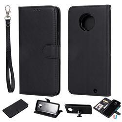 Retro Greek Detachable Magnetic PU Leather Wallet Phone Case for Motorola Moto G6 Plus G6Plus - Black
