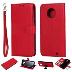 Retro Greek Detachable Magnetic PU Leather Wallet Phone Case for Motorola Moto G6 Plus G6Plus - Red