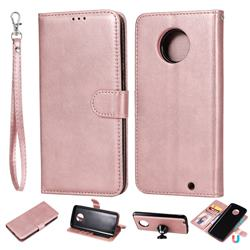 Retro Greek Detachable Magnetic PU Leather Wallet Phone Case for Motorola Moto G6 Plus G6Plus - Rose Gold