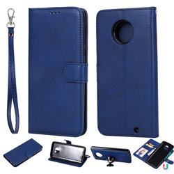Retro Greek Detachable Magnetic PU Leather Wallet Phone Case for Motorola Moto G6 Plus G6Plus - Blue