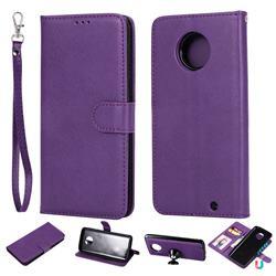 Retro Greek Detachable Magnetic PU Leather Wallet Phone Case for Motorola Moto G6 Plus G6Plus - Purple