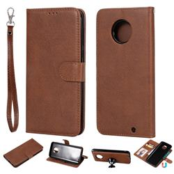 Retro Greek Detachable Magnetic PU Leather Wallet Phone Case for Motorola Moto G6 Plus G6Plus - Brown