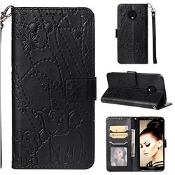 Embossing Fireworks Elephant Leather Wallet Case for Motorola Moto G6 Plus G6Plus - Black