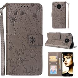 Embossing Fireworks Elephant Leather Wallet Case for Motorola Moto G6 Plus G6Plus - Gray