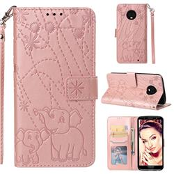 Embossing Fireworks Elephant Leather Wallet Case for Motorola Moto G6 Plus G6Plus - Rose Gold