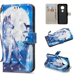 Ice Wolf 3D Painted Leather Wallet Phone Case for Motorola Moto G6 Plus G6Plus