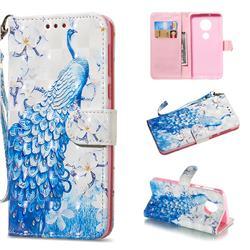 Blue Peacock 3D Painted Leather Wallet Phone Case for Motorola Moto G6 Plus G6Plus