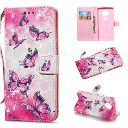 Pink Butterfly 3D Painted Leather Wallet Phone Case for Motorola Moto G6 Plus G6Plus