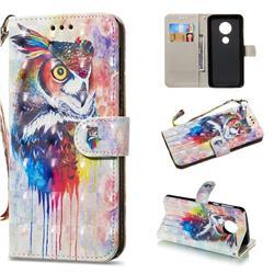 Watercolor Owl 3D Painted Leather Wallet Phone Case for Motorola Moto G6 Plus G6Plus