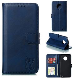 Embossing Happy Cat Leather Wallet Case for Motorola Moto G6 Plus G6Plus - Blue