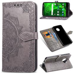 Embossing Imprint Mandala Flower Leather Wallet Case for Motorola Moto G6 Plus G6Plus - Gray