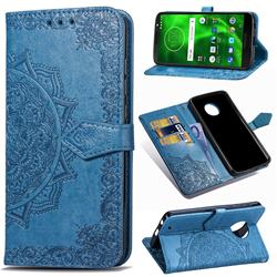 Embossing Imprint Mandala Flower Leather Wallet Case for Motorola Moto G6 Plus G6Plus - Blue