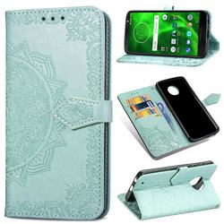 Embossing Imprint Mandala Flower Leather Wallet Case for Motorola Moto G6 Plus G6Plus - Green