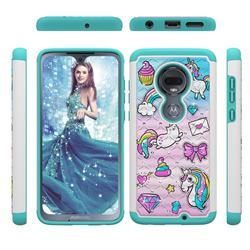 Fashion Unicorn Studded Rhinestone Bling Diamond Shock Absorbing Hybrid Defender Rugged Phone Case Cover for Motorola Moto G7 / G7 Plus