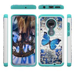 Flower Butterfly Studded Rhinestone Bling Diamond Shock Absorbing Hybrid Defender Rugged Phone Case Cover for Motorola Moto G7 / G7 Plus