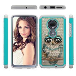 Sweet Gray Owl Studded Rhinestone Bling Diamond Shock Absorbing Hybrid Defender Rugged Phone Case Cover for Motorola Moto G7 / G7 Plus