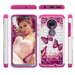 Rose Butterfly Studded Rhinestone Bling Diamond Shock Absorbing Hybrid Defender Rugged Phone Case Cover for Motorola Moto G7 / G7 Plus