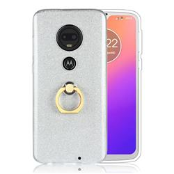 Luxury Soft TPU Glitter Back Ring Cover with 360 Rotate Finger Holder Buckle for Motorola Moto G7 / G7 Plus - White