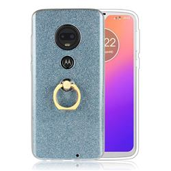 Luxury Soft TPU Glitter Back Ring Cover with 360 Rotate Finger Holder Buckle for Motorola Moto G7 / G7 Plus - Blue