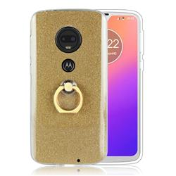 Luxury Soft TPU Glitter Back Ring Cover with 360 Rotate Finger Holder Buckle for Motorola Moto G7 / G7 Plus - Golden