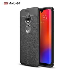 Luxury Auto Focus Litchi Texture Silicone TPU Back Cover for Motorola Moto G7 / G7 Plus - Black