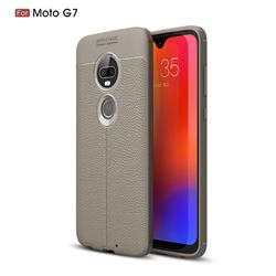 Luxury Auto Focus Litchi Texture Silicone TPU Back Cover for Motorola Moto G7 / G7 Plus - Gray