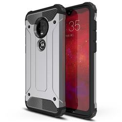 King Kong Armor Premium Shockproof Dual Layer Rugged Hard Cover for Motorola Moto G7 / G7 Plus - Silver Grey