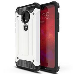 King Kong Armor Premium Shockproof Dual Layer Rugged Hard Cover for Motorola Moto G7 / G7 Plus - White