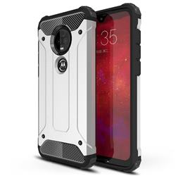 King Kong Armor Premium Shockproof Dual Layer Rugged Hard Cover for Motorola Moto G7 / G7 Plus - Technology Silver