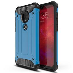 King Kong Armor Premium Shockproof Dual Layer Rugged Hard Cover for Motorola Moto G7 / G7 Plus - Sky Blue