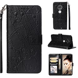 Embossing Fireworks Elephant Leather Wallet Case for Motorola Moto G7 / G7 Plus - Black